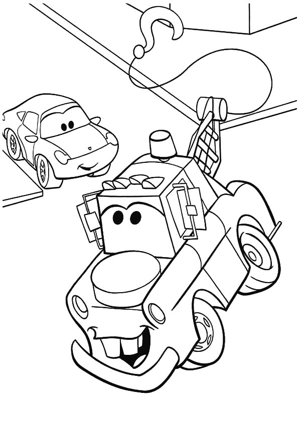 Mater, Tow Mater Turning To Right Coloring Pages: Tow Mater Turning to Right Coloring Pages