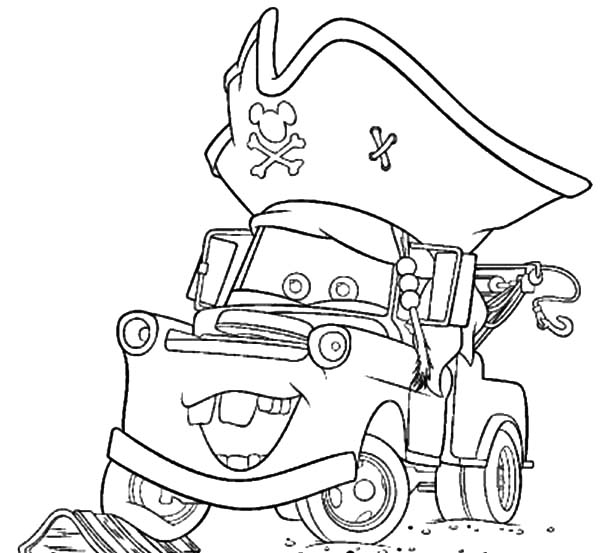 tow mater wearing pirate hat coloring pages