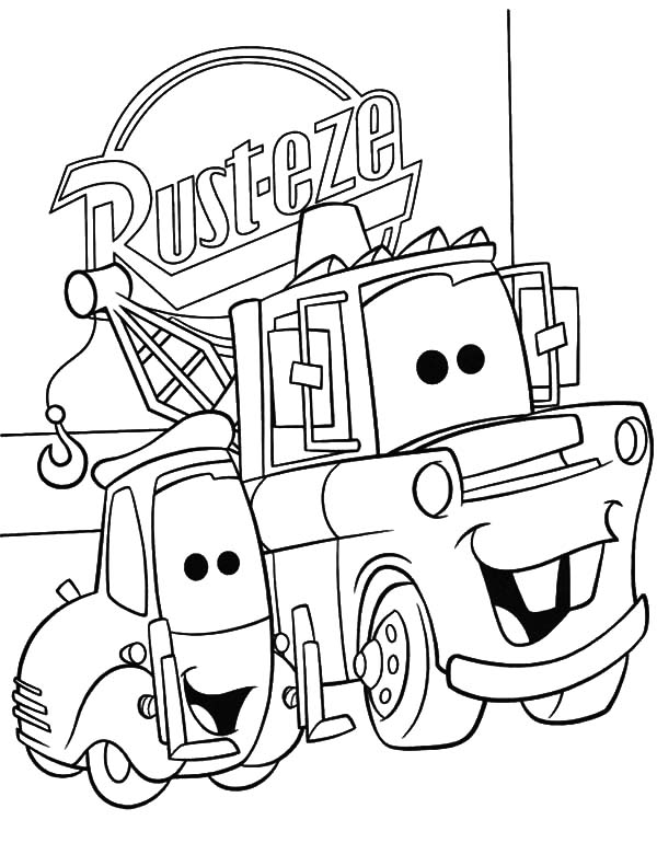 Mater, Tow Mater And Guido Side By Side Coloring Pages: Tow Mater and Guido Side by Side Coloring Pages