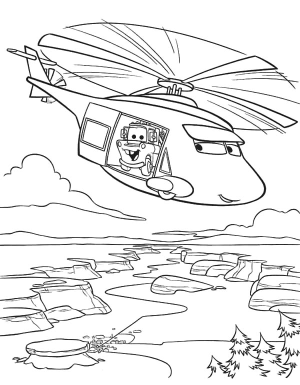 Mater, Tow Mater On Helicopter Coloring Pages: Tow Mater on Helicopter Coloring Pages
