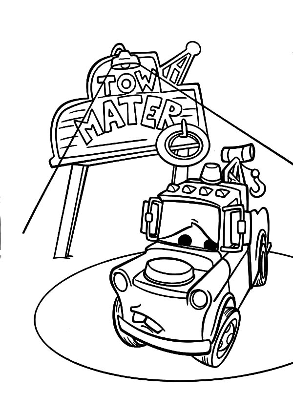mater tow mater on spotlight coloring pages - Mater Coloring Pages