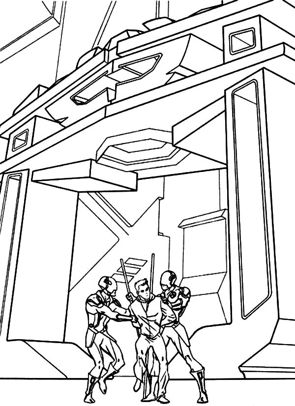 Tron, Tron Cought By Ninja Robots Coloring Pages: Tron Cought by Ninja Robots Coloring Pages