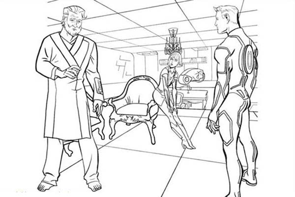 Tron, Tron Kevin Meet His Son Sam Flynn Coloring Pages: Tron Kevin Meet His Son Sam Flynn Coloring Pages