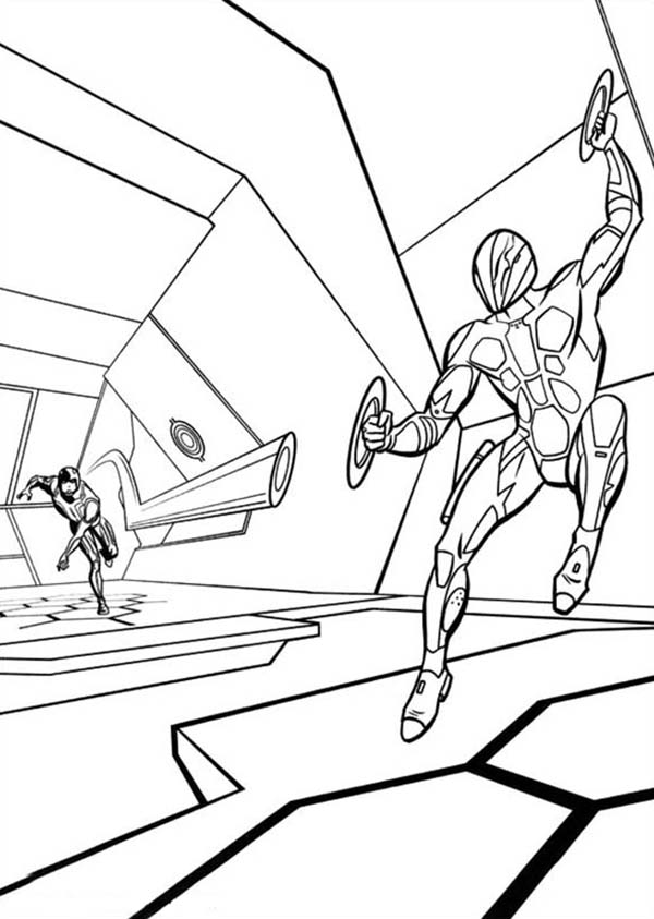 Tron legacy dodging light blade coloring pages
