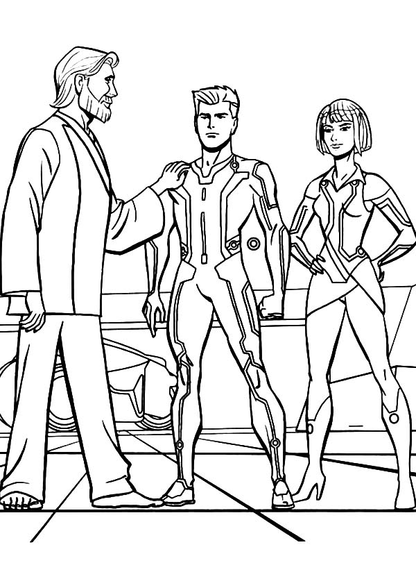Tron, : Tron Legacy Kevin Flynn is Proud of His Son Coloring Pages