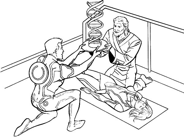 Tron, Tron Legacy Kevin And Sam Flynn Heals Quorra Coloring Pages: Tron Legacy Kevin and Sam Flynn Heals Quorra Coloring Pages