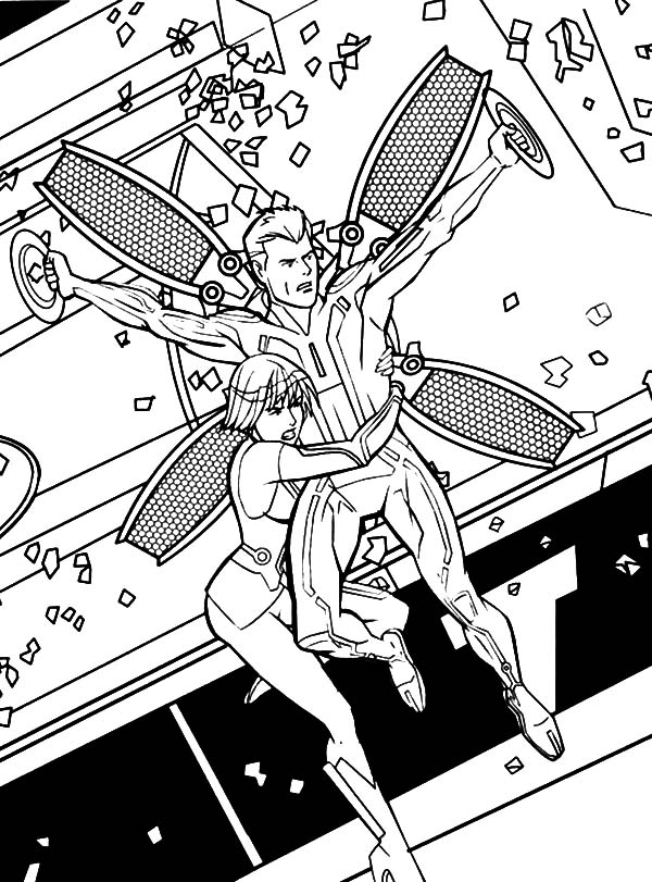 Tron, : Tron Legacy Quorra Hold CLU Tight Coloring Pages