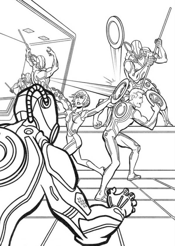tron tron legacy quorra and sam attack by clu army coloring pages tron legacy