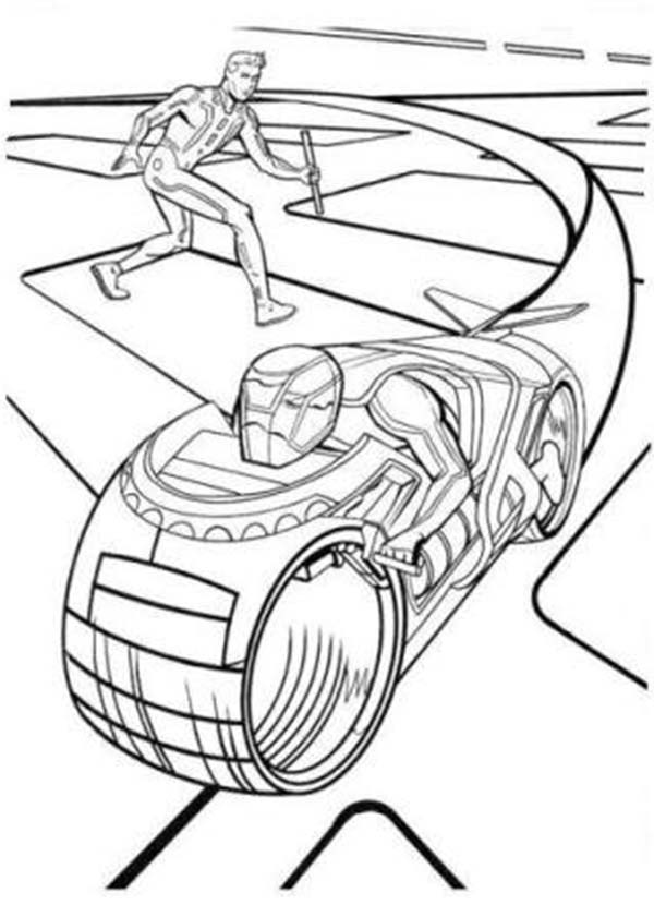 Tron, : Tron Legacy Sam Flynn Attack Enemy with Barehand Coloring Pages