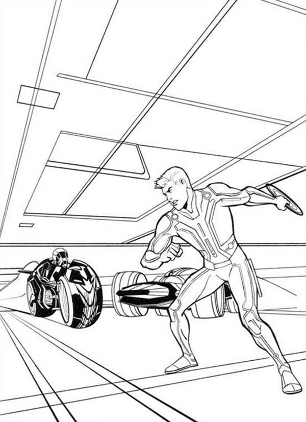 Tron, Tron Sam Flynn With Round Blade Coloring Pages: Tron Sam Flynn with Round Blade Coloring Pages