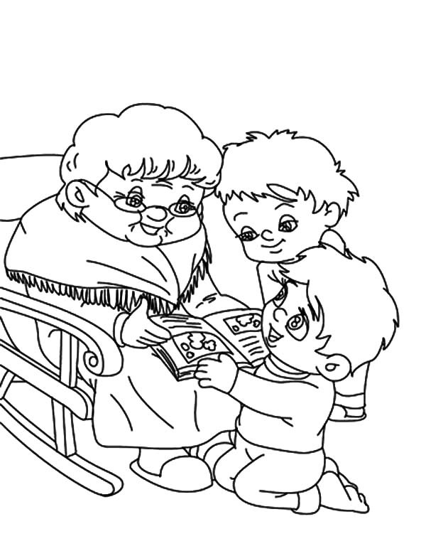 Grandmother, Two Boy Ask Grandmother To Tell Them Story Coloring Pages: Two Boy Ask Grandmother to Tell Them Story Coloring Pages