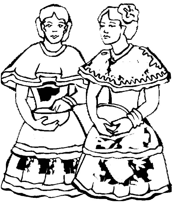 Two Mexican Dancer In Dress Coloring Pages
