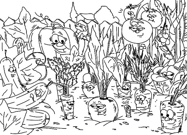 Garden, Vegetables Garden Coloring Pages: Vegetables Garden Coloring Pages