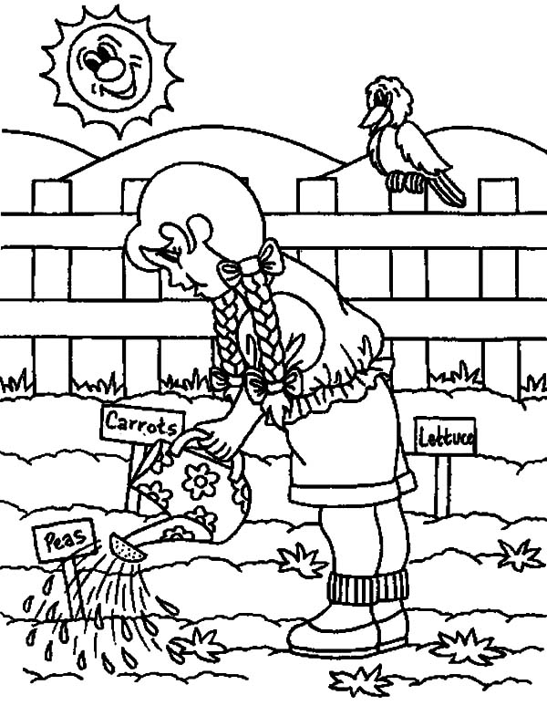 Vegetables garden coloring pages color luna for Garden coloring page