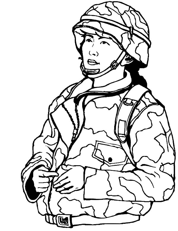 Woman Military Soldier Coloring Pages