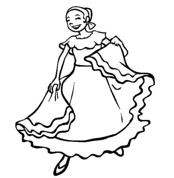 mexican people dancing coloring pages - photo#5