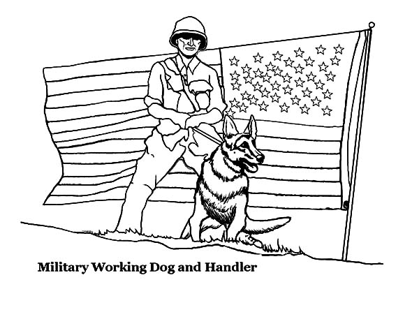 Military Working Dog And Handler In Coloring Pages