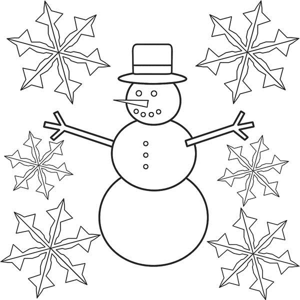 Mr Snowman On Christmas Touching A Snowflake Coloring Page: Snowman And Snowflakes Coloring Pages