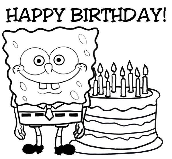 Happy Birthday Sponge Bob and Cake Coloring Page | Color Luna