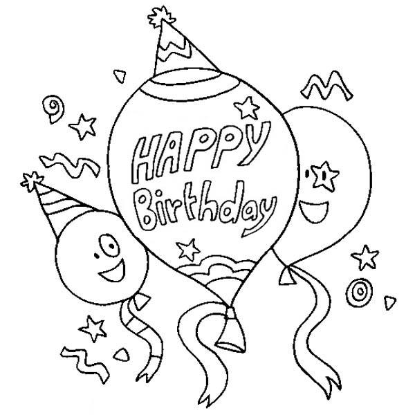 Three Happy Birthday Baloon Coloring Page | Color Luna