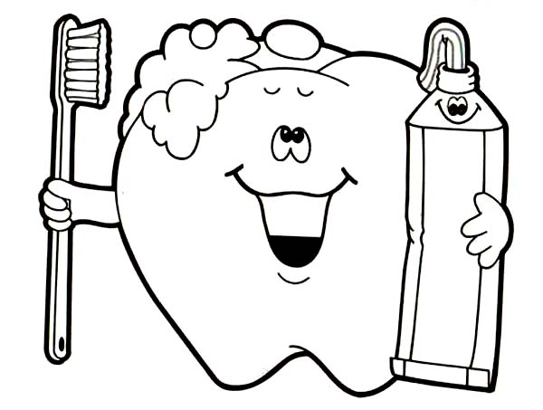 Brush Your Teeth for Your Dental Health Coloring Page ...