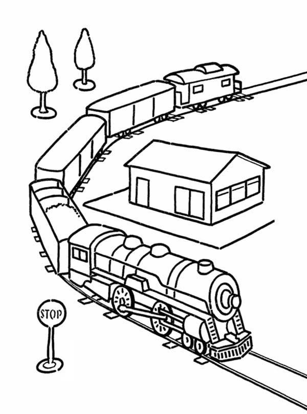 Model Train Coloring Page   Color Luna