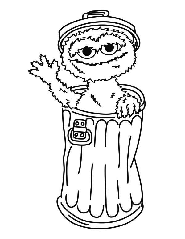 Oscar the Grouch from Sesame Street Coloring Page | Color Luna