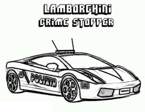 police car lamborghini crime stopper coloring page color luna. Black Bedroom Furniture Sets. Home Design Ideas