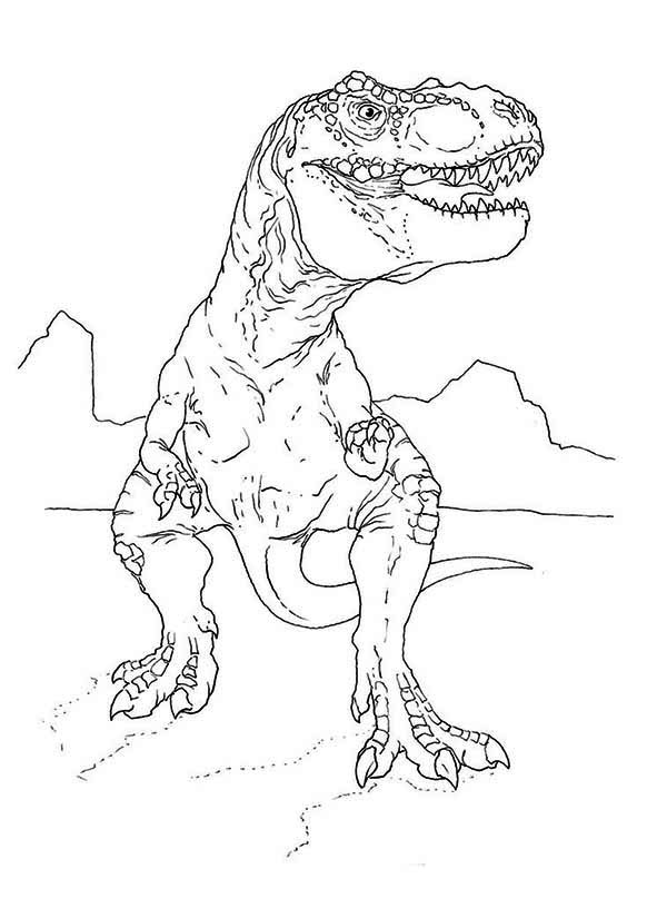 T Rex Looking for Food Coloring Page: T Rex Looking for ...