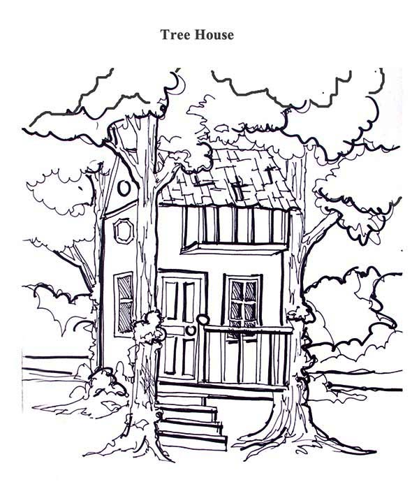 Treehouse Between Two Tree Coloring Page | Color Luna