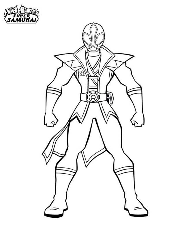 Amazing Red Ranger In Power Rangers Super Samurai Coloring