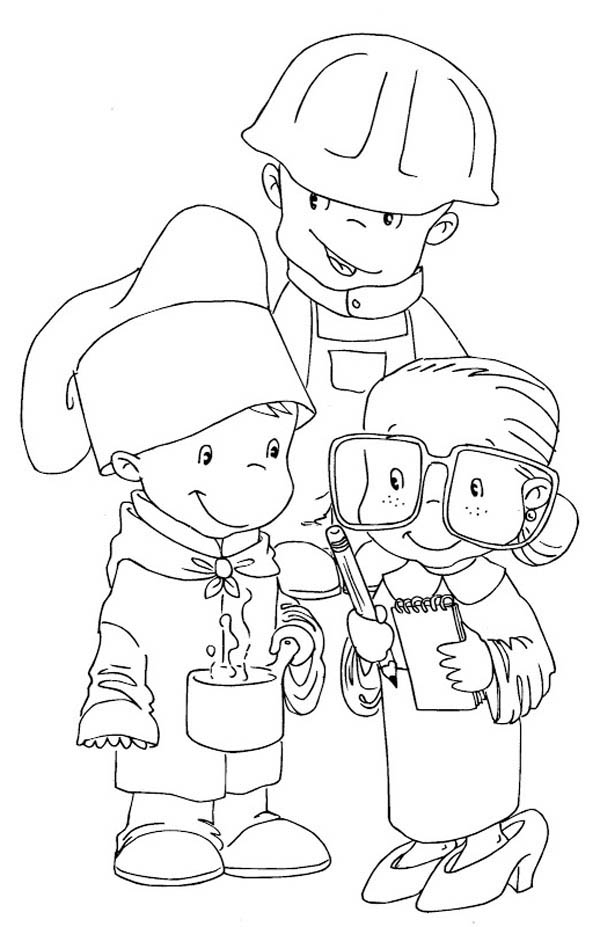 Children Dress As Workers In Labor Day Coloring Page