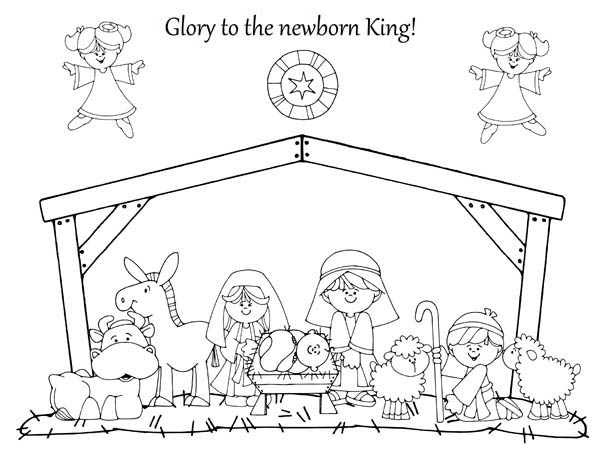 Glory to the Newborn King in Nativity Coloring Page ...