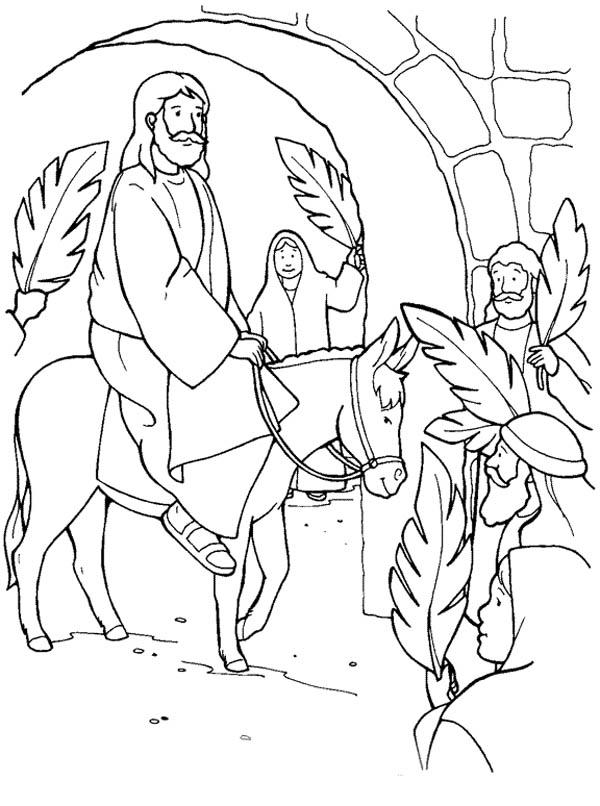 jesus through jerusalem gate in palm sunday coloring page