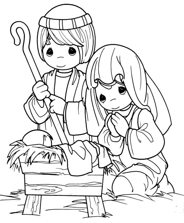 Joseph and Mary in Jesus Christ Nativity Coloring Page ...