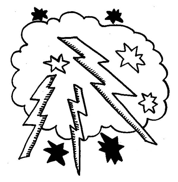 lightning bolt coloring pages | Lighting Bolt In The Cloud Coloring Page : Color Luna