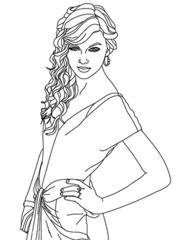 It's just a photo of Nifty Taylor Swift Coloring Page