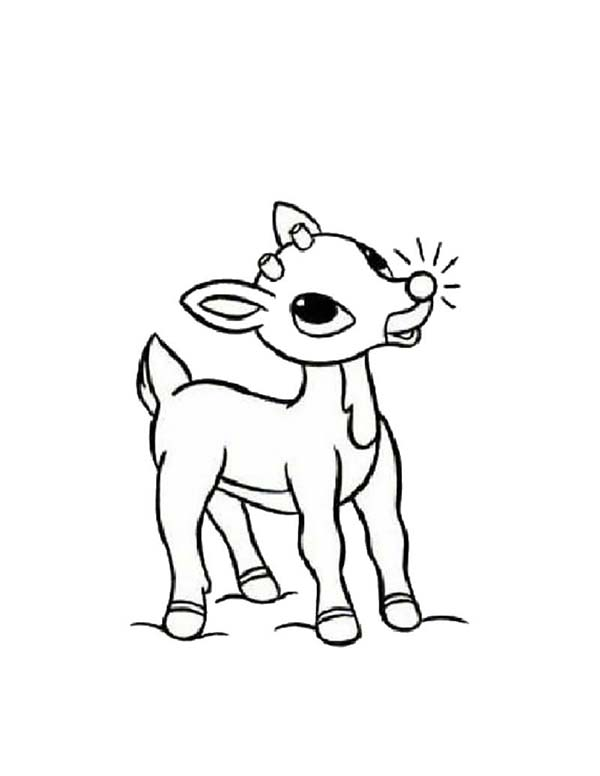 Rudolph the Reindeer Has Glowing Red Nosed Coloring Page ...