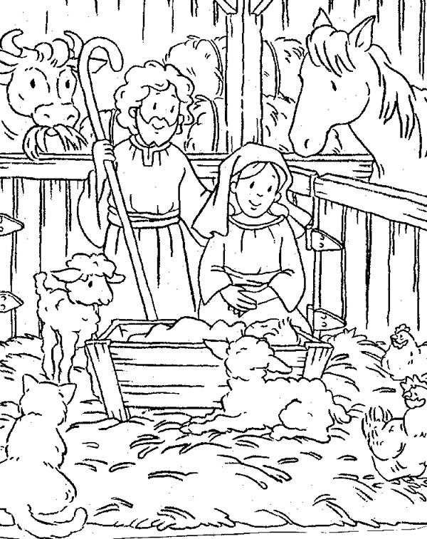 Scene of Nativity Coloring Page | Color Luna