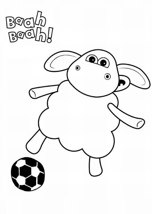 Timmy Play Football In Shaun The Sheep Coloring Page