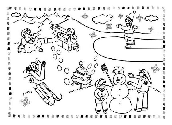 winter activities coloring pages | All Kind Winter Season Outdoor Activities Coloring Page ...