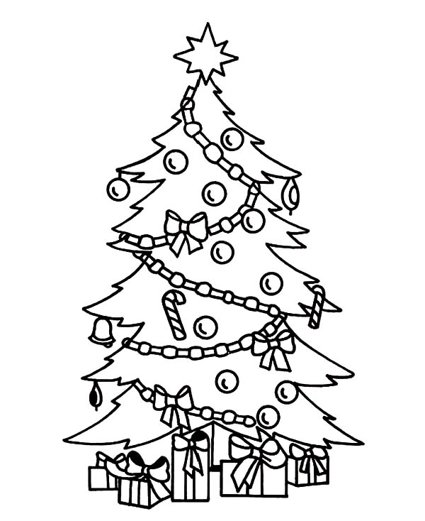 Christmas Trees Colouring Pages: Beautifully Decorated Christmas Trees Coloring Pages