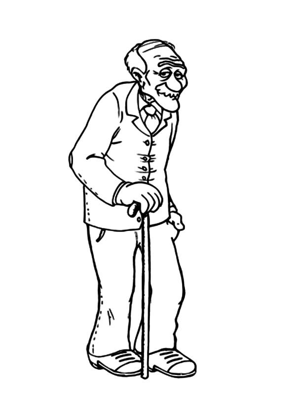 Grandfather Walking Slowly Coloring Pages Color Luna