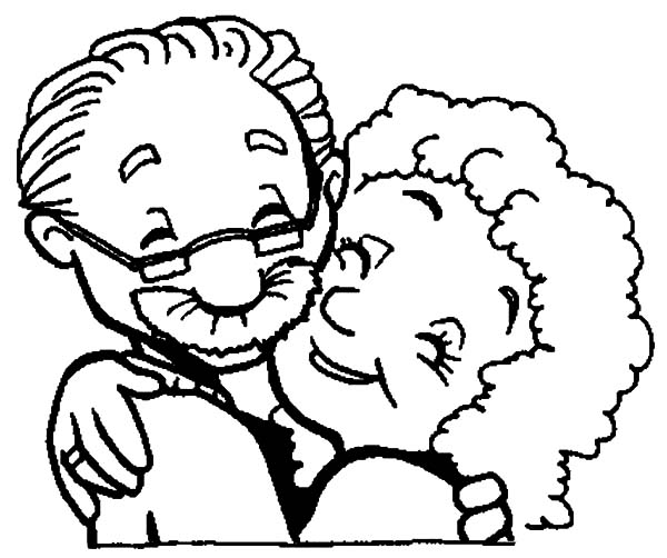 Grandmother And Grandfather Love Each Other Coloring Pages