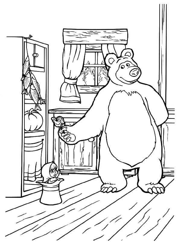 Masha and the Bear Bring Masha Delicious Candy Coloring ...