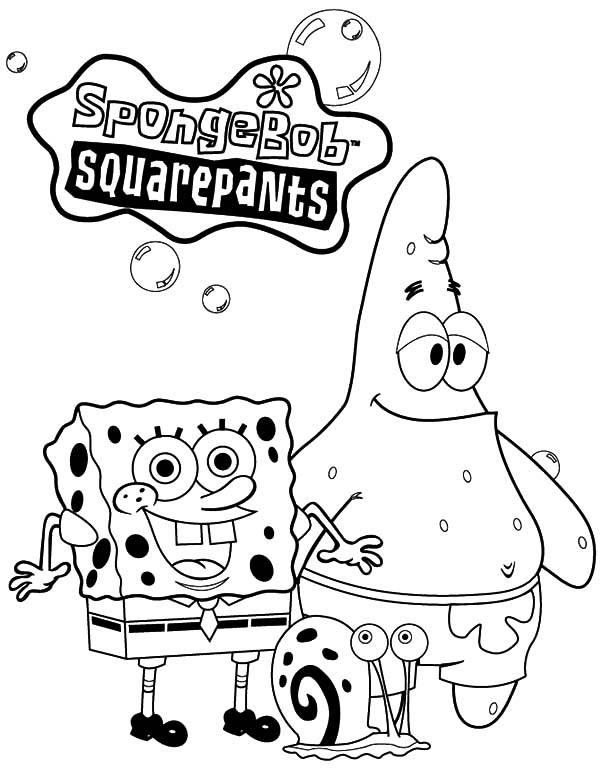 Christmas Spongebob and Gary the Snail Coloring Pages ...