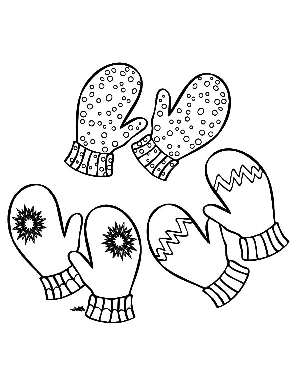 Three Pair of Mittens Coloring Pages | Color Luna