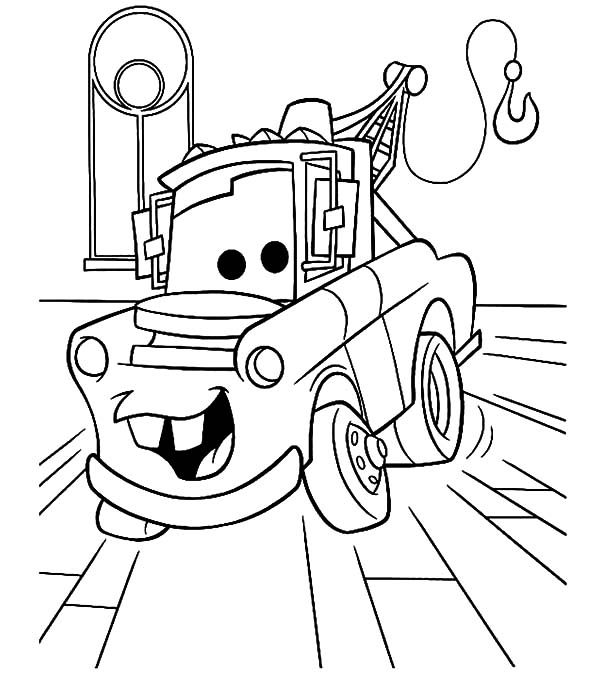 tow mater in the garage coloring pages  color luna